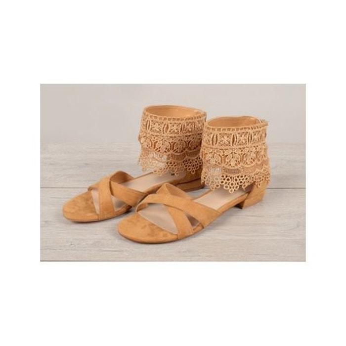 Sandales dentelle  camel Molly Bracken  La Redoute