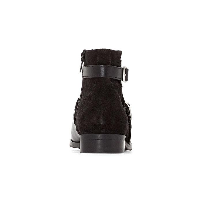 Boots cuir double boucle noir La Redoute Collections