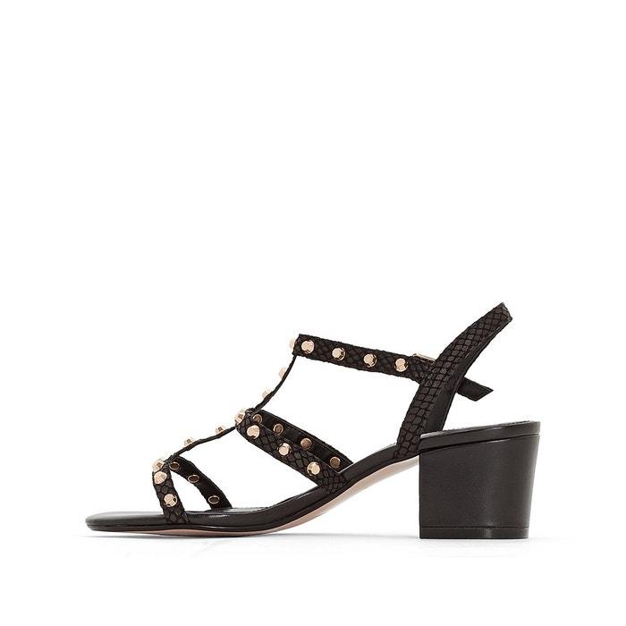Sandales cuir plates laciee noir Dune London