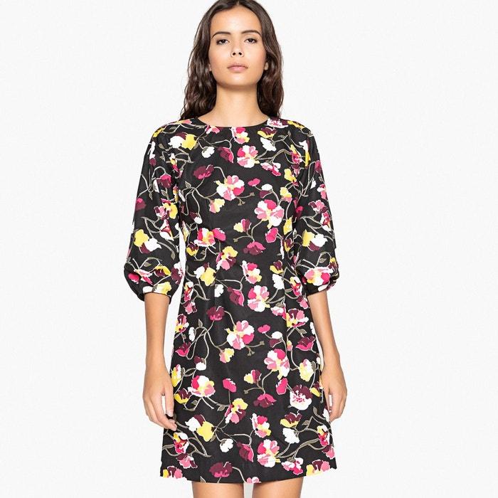 Robe imprimée fleurs, effet enduit imprimé fleurs fond noir La Redoute  Collections   La Redoute ab643f8866b