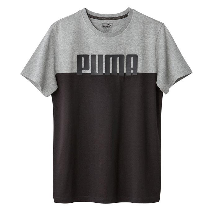 360d8b288531e Tee shirt col rond uni, manches courtes gris chiné noir Puma   La Redoute