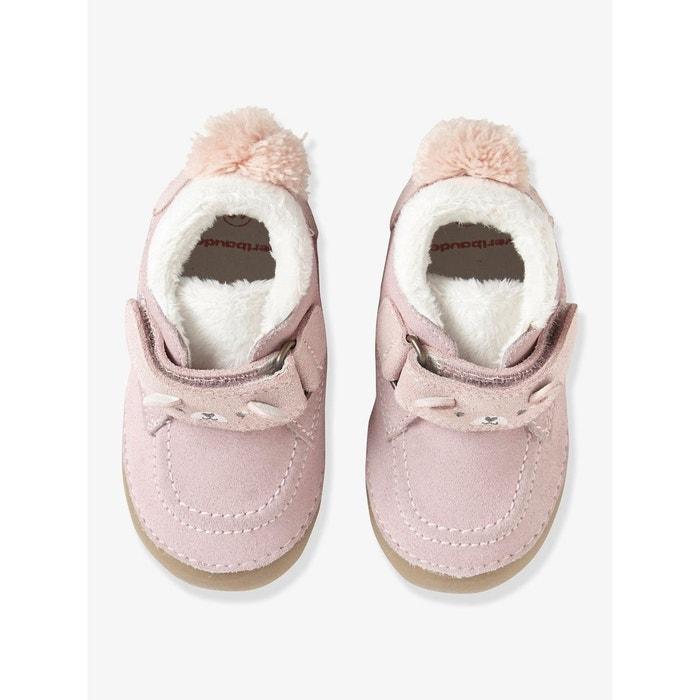 9a3b7b0411ac1 Chaussons fourrés bébé en cuir souple rose clair imprimé Vertbaudet ...