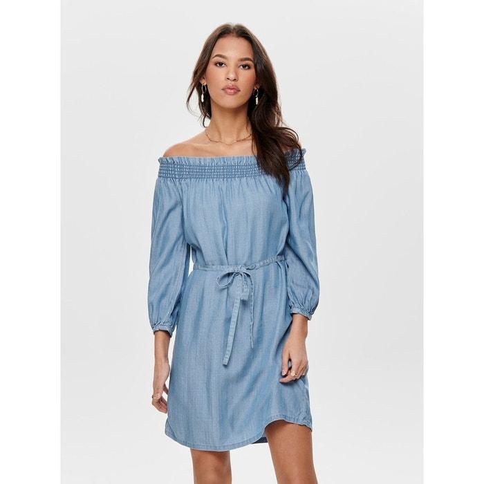 2b5b7c31949 Robe en jean épaules dénudées bleu-medium blue denim Only