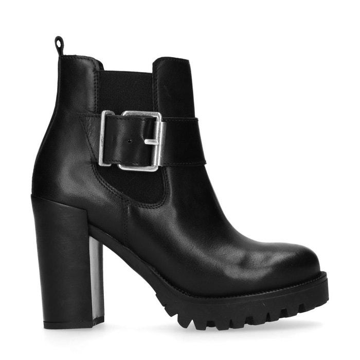 88d4004bf7601 Chelsea boots cuir à talon avec boucle décorative noir Sacha   La Redoute