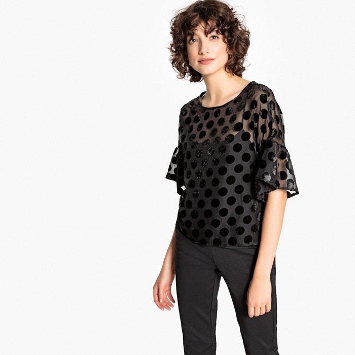 Блузка с круглым вырезом, рисунком в горошек и короткими рукавами  La Redoute Collections image 0