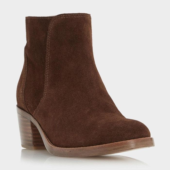 Stacked block heel ankle boot - pearson  marron daim Dune London  La Redoute