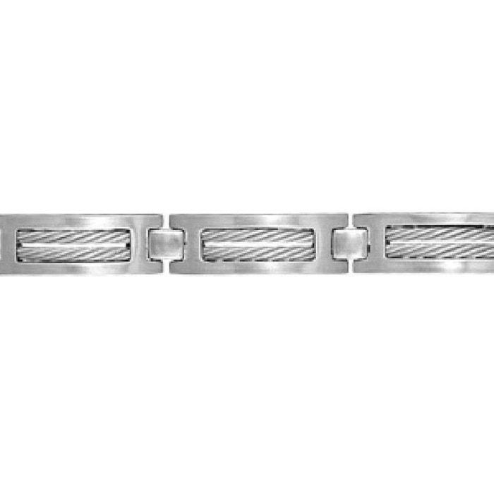 Bracelet homme longueur réglable: 19 à 20,5 cm maillons 2 câbles acier inoxydable couleur unique So Chic Bijoux | La Redoute