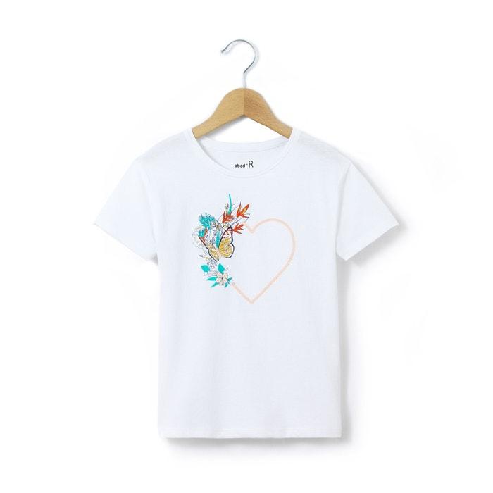 afbeelding T-shirt met hart vooraan 3-12 jr La Redoute Collections