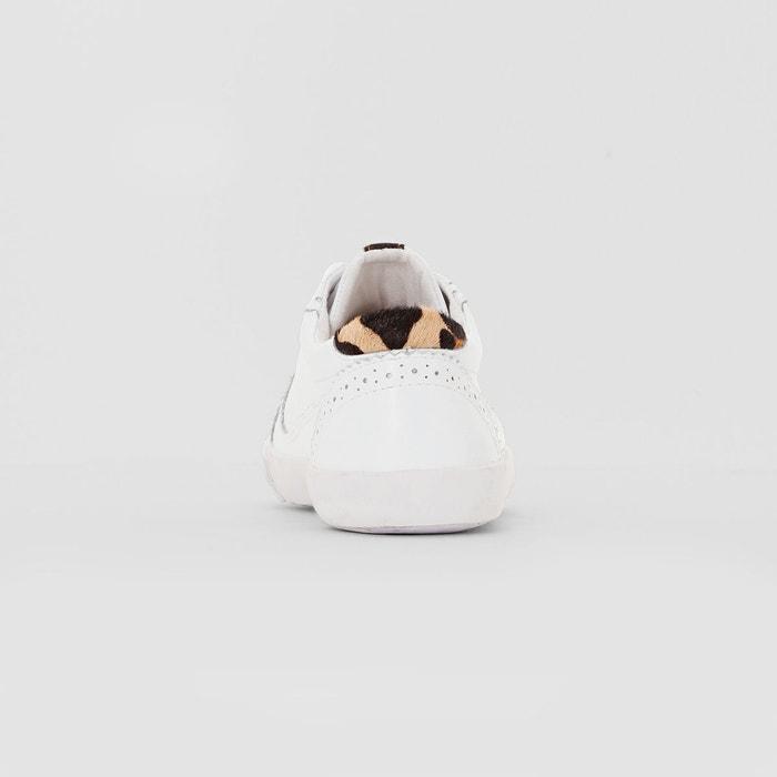Baskets cuir arrière léopard, Blanc