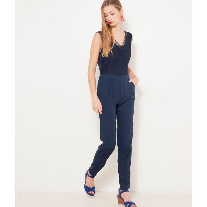 Combinaison pantalon dentelle bleu fonc bleu marine camaieu la redoute - Combinaison pantalon femme chic ...