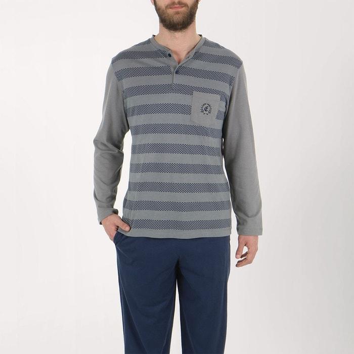 pyjama homme long vive les rayures gris tirets effet rayure marine eminence la redoute. Black Bedroom Furniture Sets. Home Design Ideas