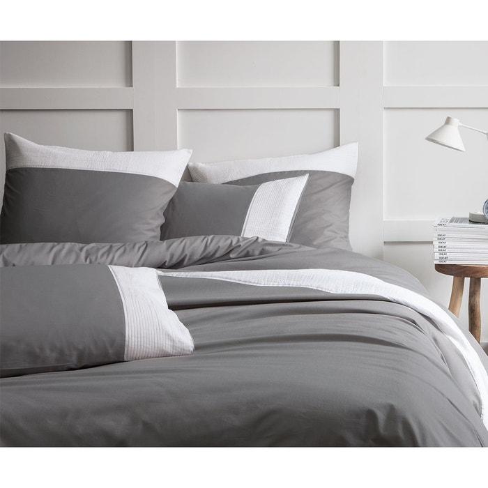 housse de couette pliss e 100 coton anthracite matt et rose la redoute. Black Bedroom Furniture Sets. Home Design Ideas