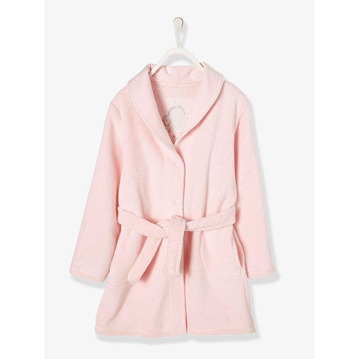 c74653dd022e5 Robe de chambre fille douceur peluche rose clair imprimé Vertbaudet ...