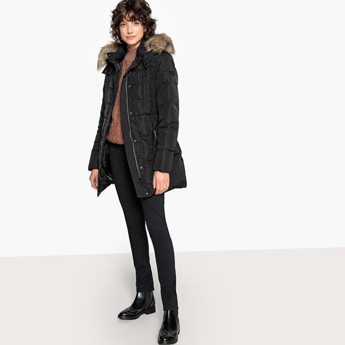 85d95e4b3bec0b Lange steppjacke, kapuze mit webpelz schwarz Pepe Jeans | La Redoute