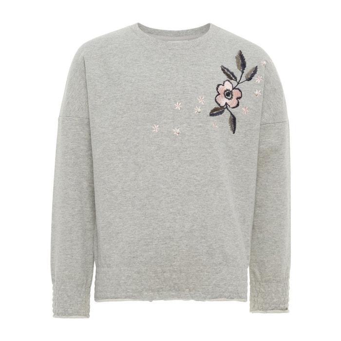 e5526ce756b0 Sweat-shirt broderie fleurie gris-grey melange Name It