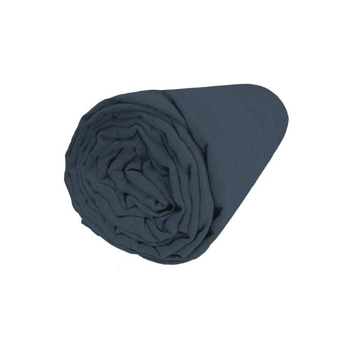 drap housse lin lav uni bleu nuit bonnet 30 cm bleu nuit blanc cerise la redoute. Black Bedroom Furniture Sets. Home Design Ideas