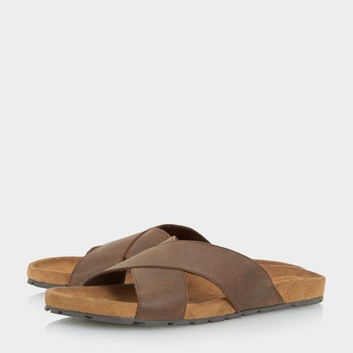 Suede footbed crossover strap sandal - idris marron cuir Dune London