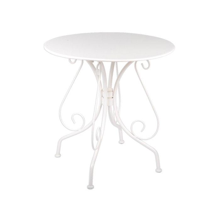 Table de jardin ronde en m tal 70 cm blanc couleur for Table de jardin la redoute