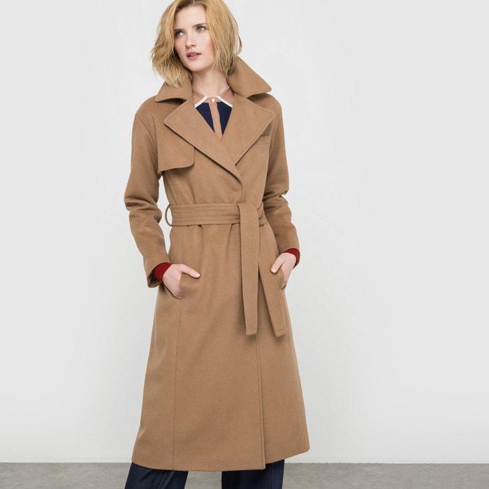 a702dce6401 Abrigo largo de paño de lana camel La Redoute Collections