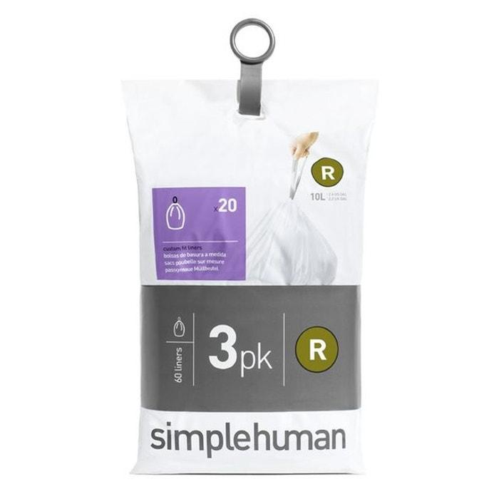 sacs poubelle simplehuman pocket liners 10 l code r blanc simplehuman la redoute. Black Bedroom Furniture Sets. Home Design Ideas