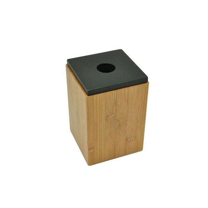 Boîte de rangement salle de bain bambou couvercle noir bois Wadiga ...
