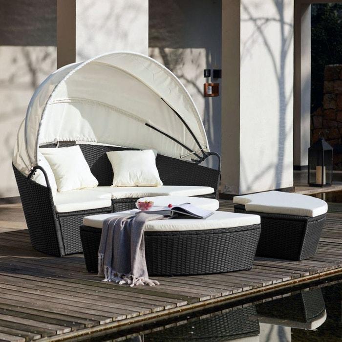 Salon de jardin résine tressée 6/8 places, circa noir Concept Usine ...