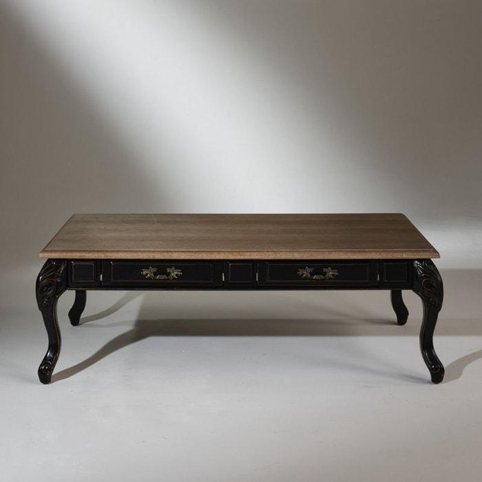 Table Basse Chêne Marianne Plateau Chêne Légèrement Cérusé Pieds