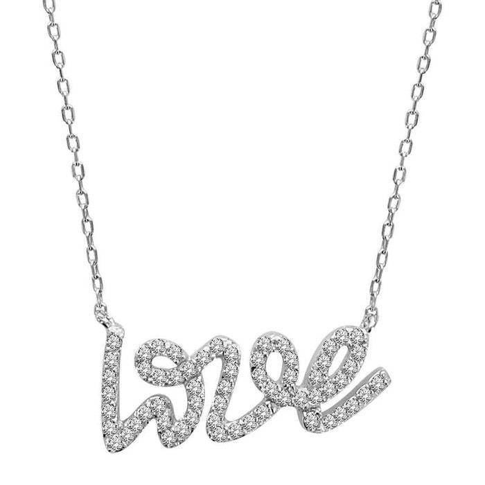 Collier femme longueur réglable: 40 à 43,5 cm chaîne pendentif love amour oxyde de zirconium blanc argent 925 couleur unique So Chic Bijoux | La Redoute
