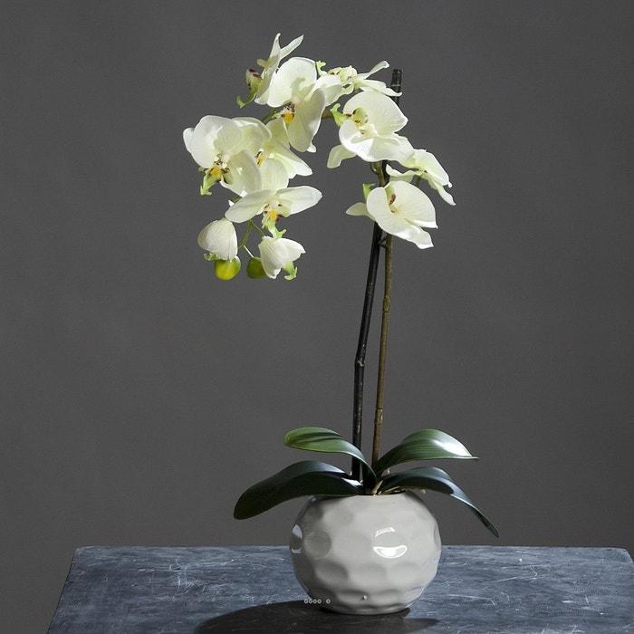 orchidee artificielle pourpre1 hampe en pot ceramique blanc h 46 cm choisissez votre coloris. Black Bedroom Furniture Sets. Home Design Ideas