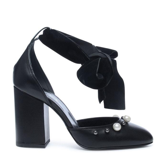 Escarpins avec bride cheville en velours noir Sacha