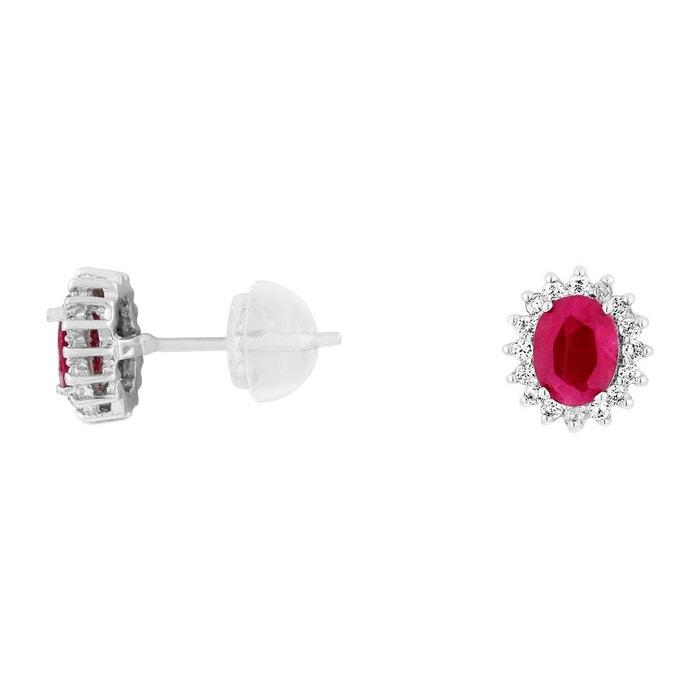 Boucles d'oreilles en or 375/1000 blanc, rubis rouge et oxyde rouge Cleor | La Redoute