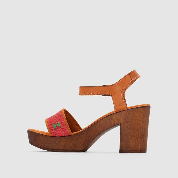 Sandales à talons et semelles plateau rouge/imprimé Bunker