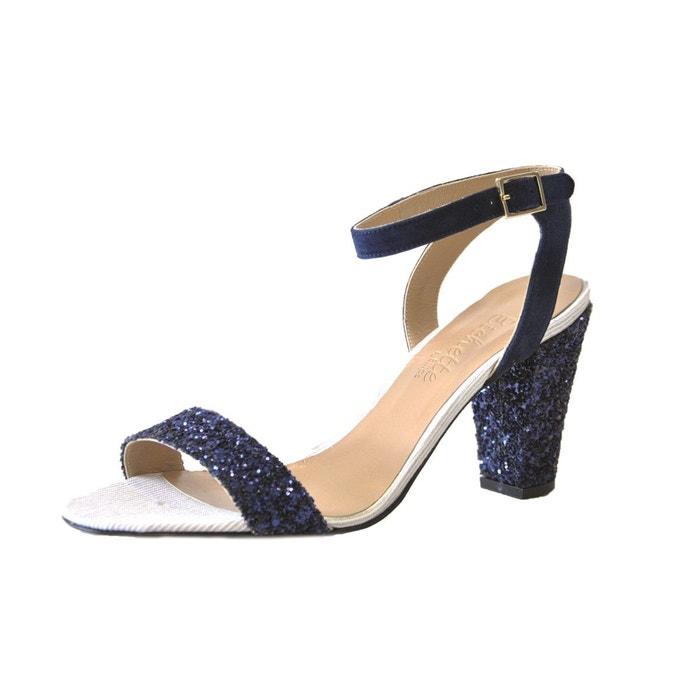 Sandale à bout rond hibiscus bleu marine Le Soulier Francais