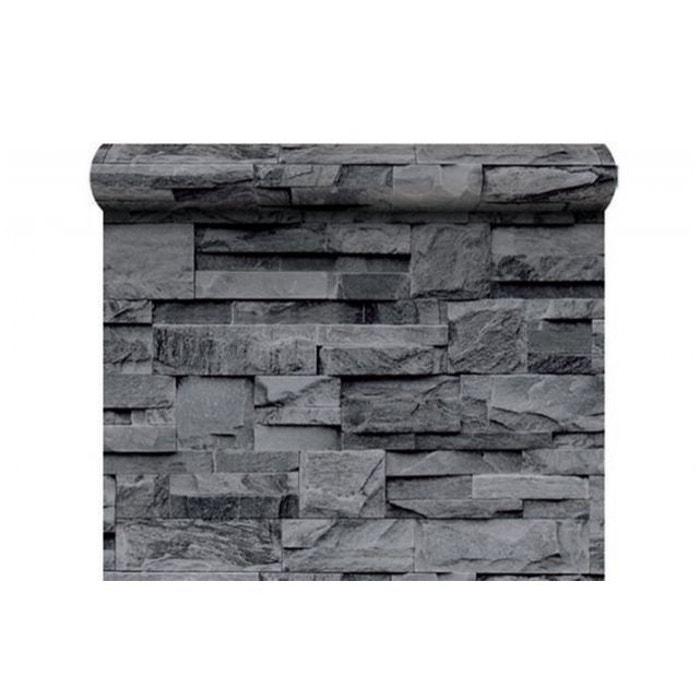 papier peint pierre de parement grise gris koziel la redoute. Black Bedroom Furniture Sets. Home Design Ideas