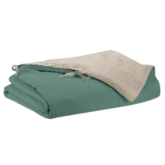 Housse de couette stonewashed zephyr vert de gris - La redoute housse de couette bicolore ...