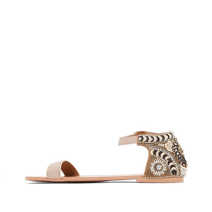 Sandales cuir back perles nude Mademoiselle R