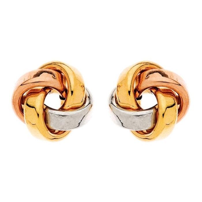 Boucles d'oreilles noeud trois ors fil plat 11 mm or jaune 375/000 (9 carats) couleur unique So Chic Bijoux | La Redoute Sortie Acheter Obtenir 100% Authentique En Ligne Finishline LU2IUm