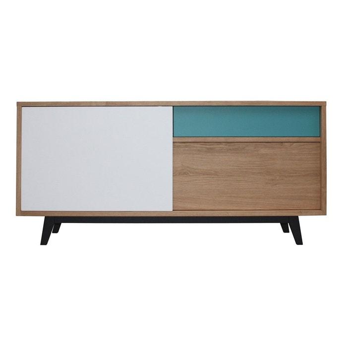 buffet style scandinave ch ne massif blanchi et laqu bleu pirotais la redoute. Black Bedroom Furniture Sets. Home Design Ideas