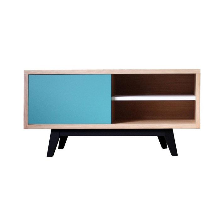 Buffet tv scandinave en ch ne massif et laqu bleu canard blanc gris balustrade bleu turquoise - Pirotais meubles ...