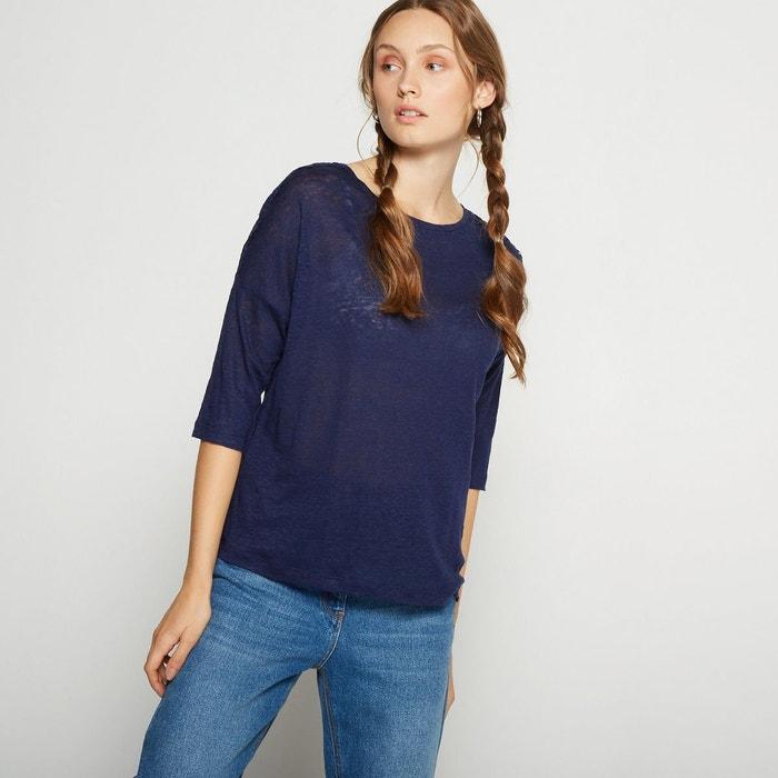 Tee-shirt en lin uni avec empiècement dentelle bleu Monoprix   La Redoute 14934ec9afee