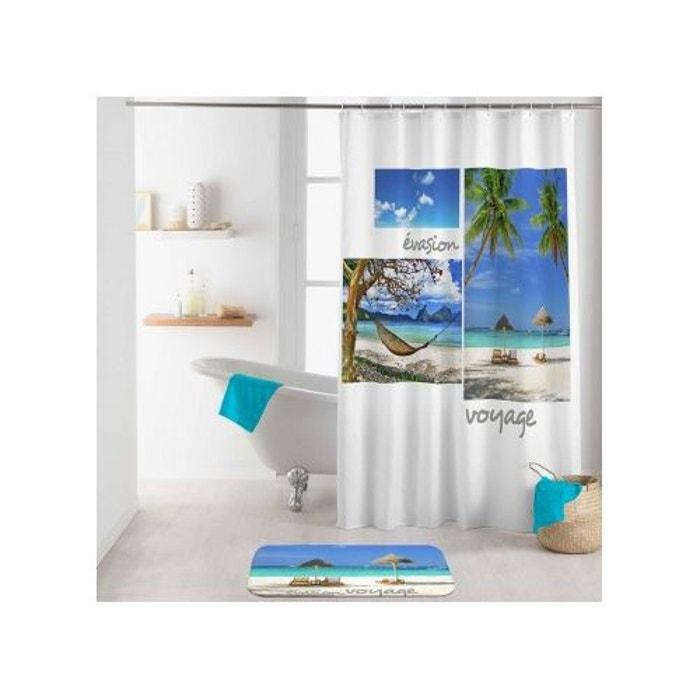 rideau de douche r ve tropical blanc home bain la redoute. Black Bedroom Furniture Sets. Home Design Ideas