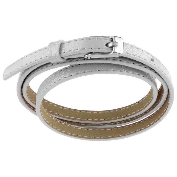 Bracelet fin enroulé 3 rangs fermoir boucle ceinture cuir blanc acier So  Chic Bijoux   La Redoute da1bf58c982