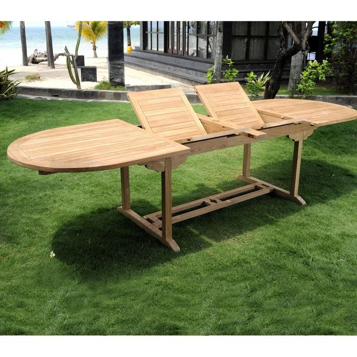 Table de jardin en teck brut XXL 200-250-300 cm double rallonge