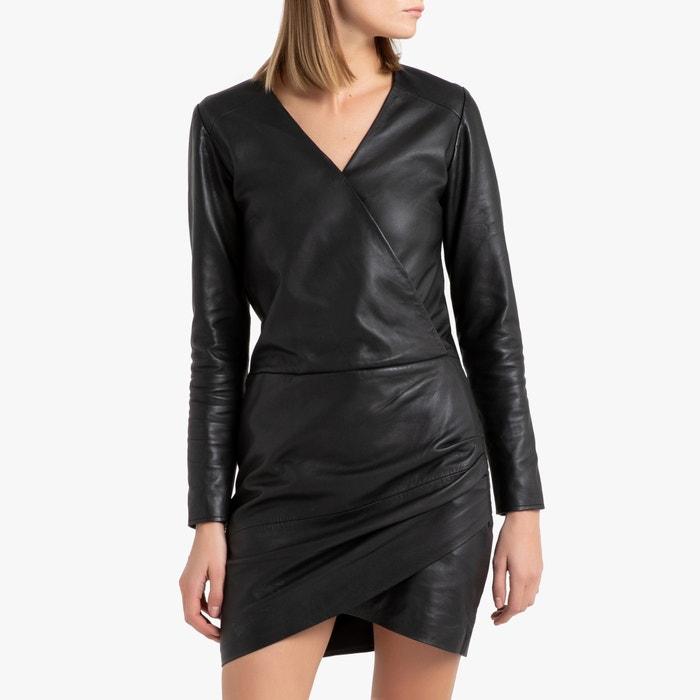 Robe Courte En Cuir D Agneau Ikks Noir La Redoute