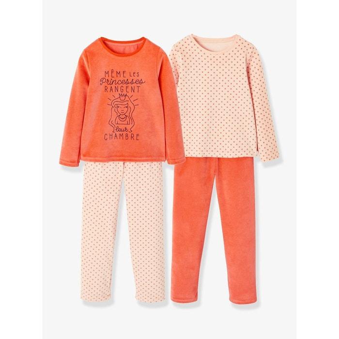 a1fdb611d1fa5 Lot de 2 pyjamas velours fille combinables rose moyen uni Vertbaudet ...