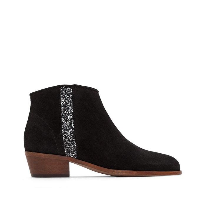 Boots cuir détail paillettes   La Redoute Collections   La Redoute