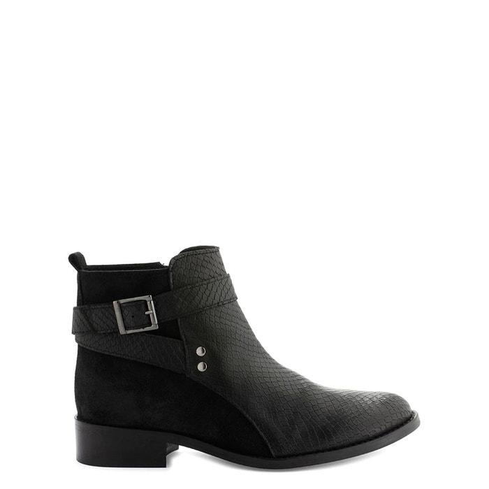 Boots cuir farel/bipyt noir Cosmoparis