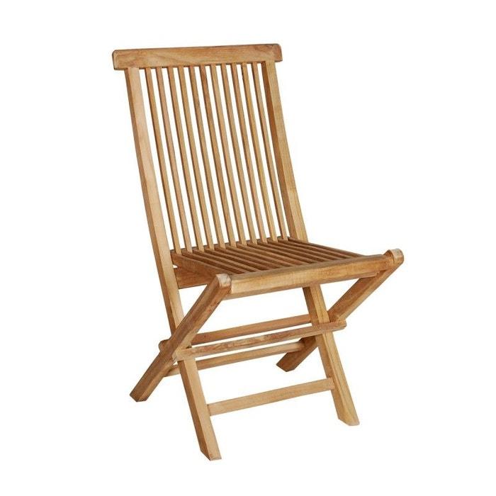 chaise de jardin en bois de teck pliante teck brut bois dessus bois dessous la redoute. Black Bedroom Furniture Sets. Home Design Ideas