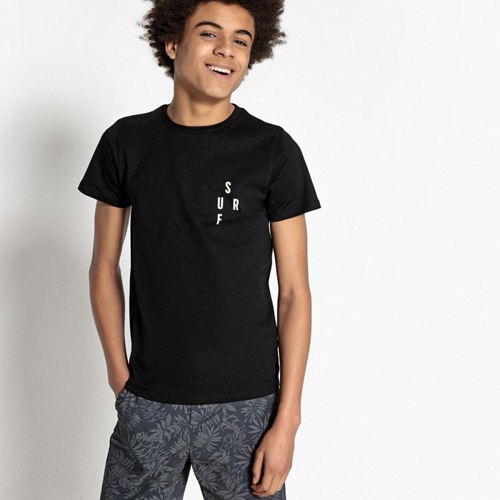 Camiseta con cuello redondo y mensaje SURF 10-16 años  La Redoute Collections image 0