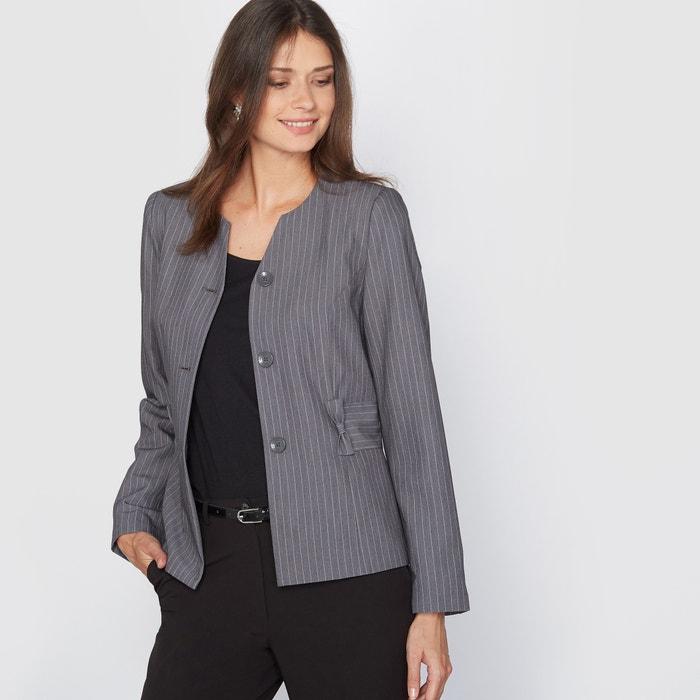Image Stretch Twill Striped Cropped Jacket ANNE WEYBURN